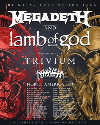 Megadeth & LAMB OF GOD Co-Headline Tour Kicks Off Next Month With Special Guests Trivium & Hatebreed